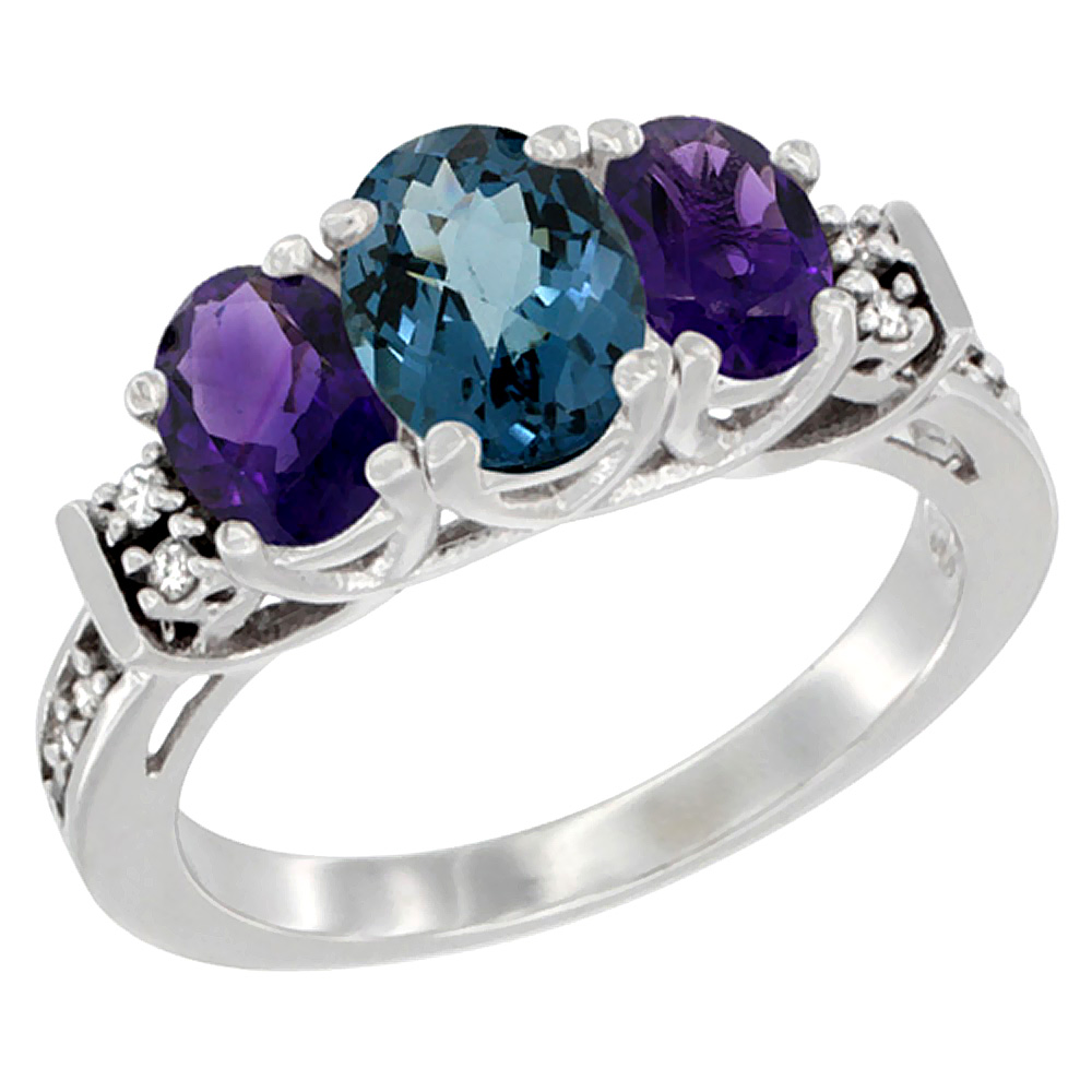 14K White Gold Natural London Blue Topaz & Amethyst Ring 3-Stone Oval Diamond Accent, sizes 5-10