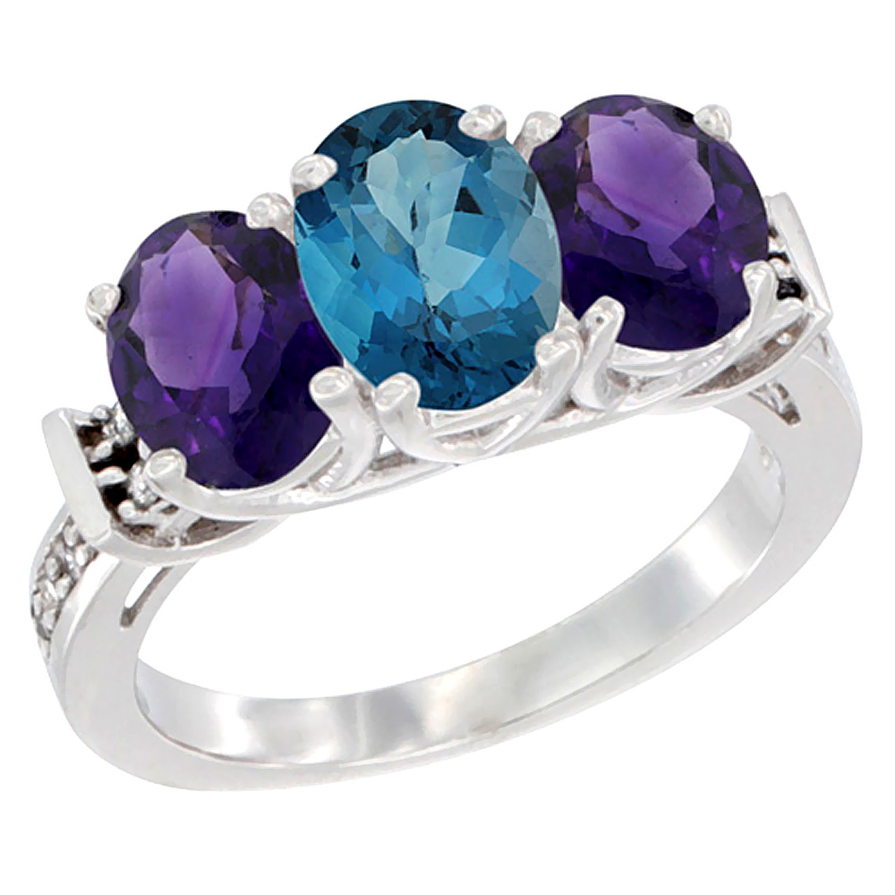 10K White Gold Natural London Blue Topaz & Amethyst Sides Ring 3-Stone Oval Diamond Accent, sizes 5 - 10