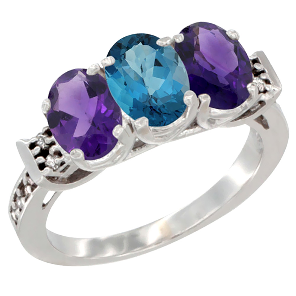 10K White Gold Natural London Blue Topaz & Amethyst Sides Ring 3-Stone Oval 7x5 mm Diamond Accent, sizes 5 - 10