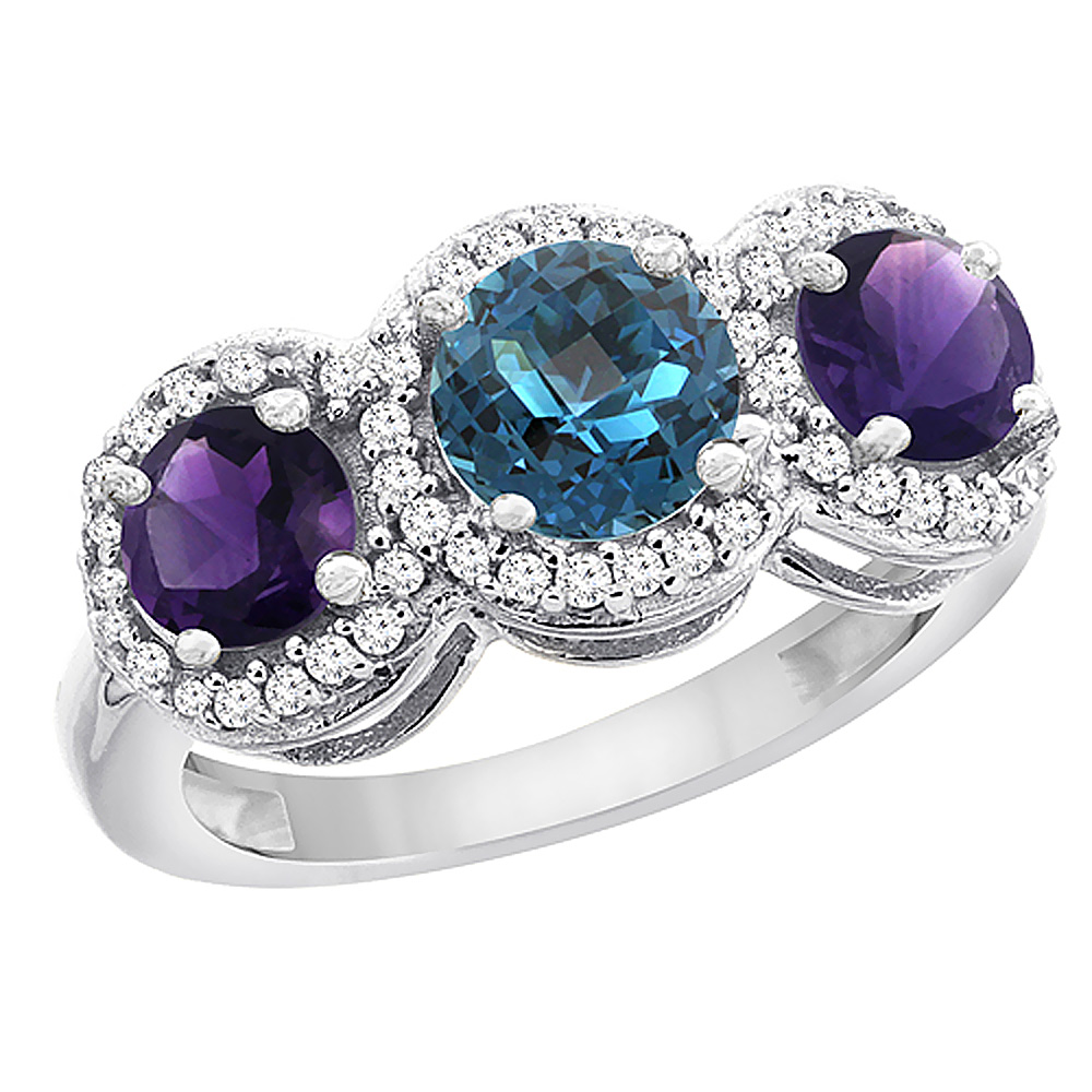 14K White Gold Natural London Blue Topaz & Amethyst Sides Round 3-stone Ring Diamond Accents, sizes 5 - 10