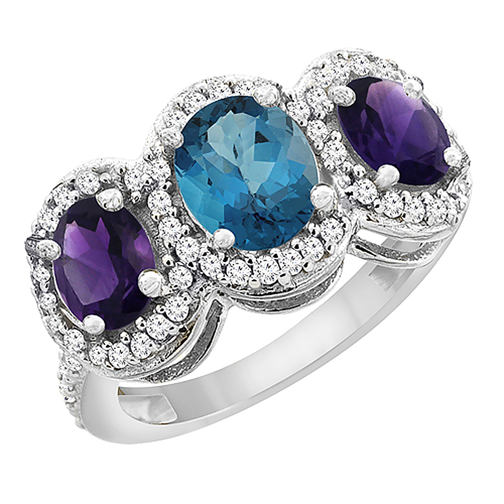 14K White Gold Natural London Blue Topaz & Amethyst 3-Stone Ring Oval Diamond Accent, sizes 5 - 10