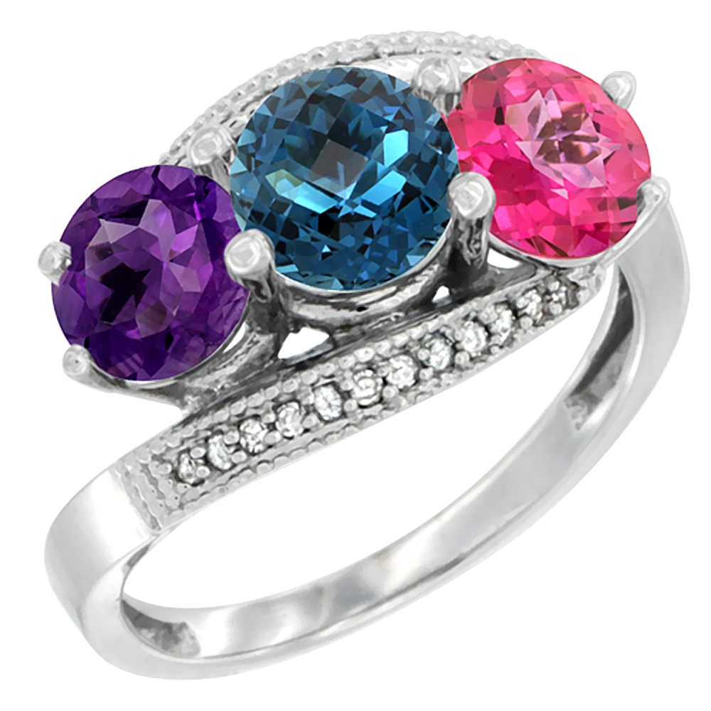 14K White Gold Natural Amethyst, London Blue & Pink Topaz 3 stone Ring Round 6mm Diamond Accent, sizes 5 - 10
