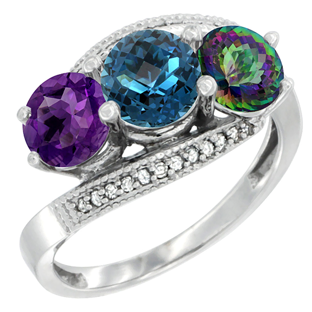 10K White Gold Natural Amethyst, London Blue & Mystic Topaz 3 stone Ring Round 6mm Diamond Accent, sizes 5 - 10