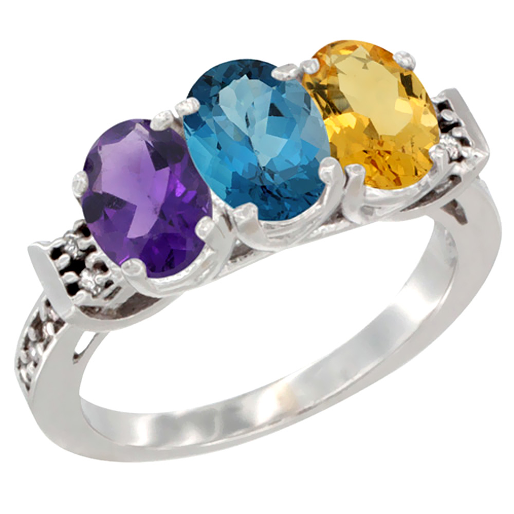 14K White Gold Natural Amethyst, London Blue Topaz & Citrine Ring 3-Stone 7x5 mm Oval Diamond Accent, sizes 5 - 10