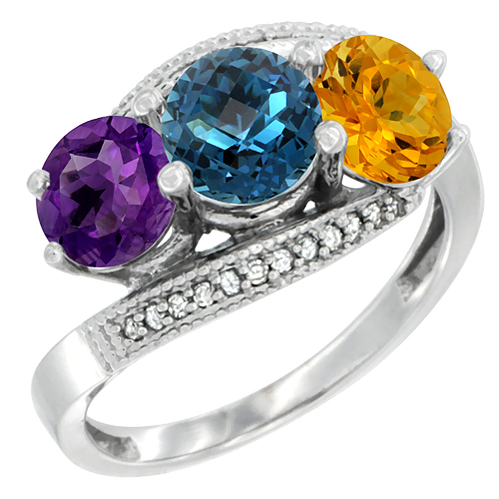 14K White Gold Natural Amethyst, London Blue Topaz & Citrine 3 stone Ring Round 6mm Diamond Accent, sizes 5 - 10