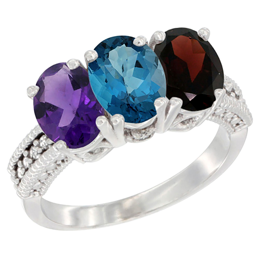 14K White Gold Natural Amethyst, London Blue Topaz & Garnet Ring 3-Stone 7x5 mm Oval Diamond Accent, sizes 5 - 10
