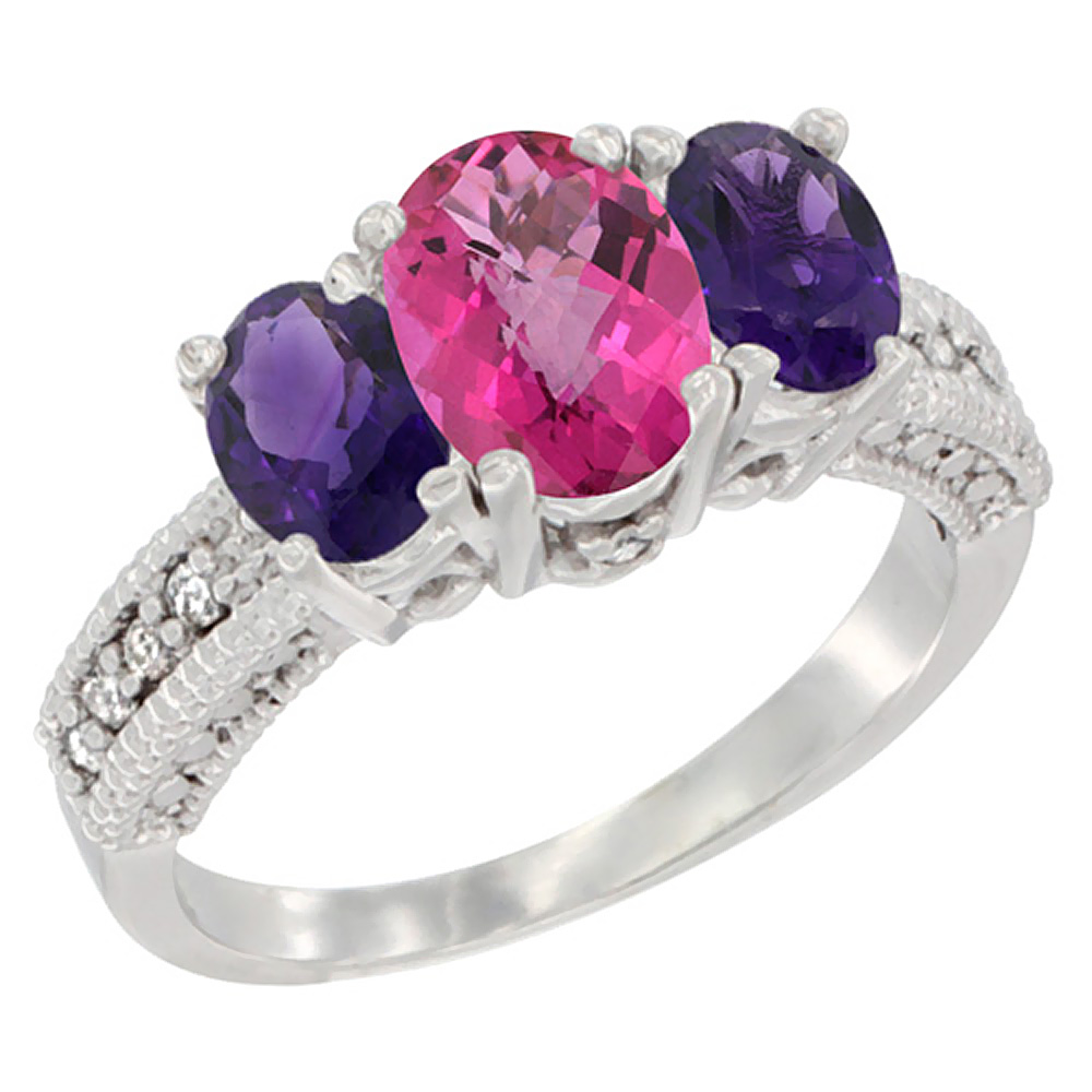 10K White Gold Diamond Natural Pink Topaz Ring Oval 3-stone with Amethyst, sizes 5 - 10