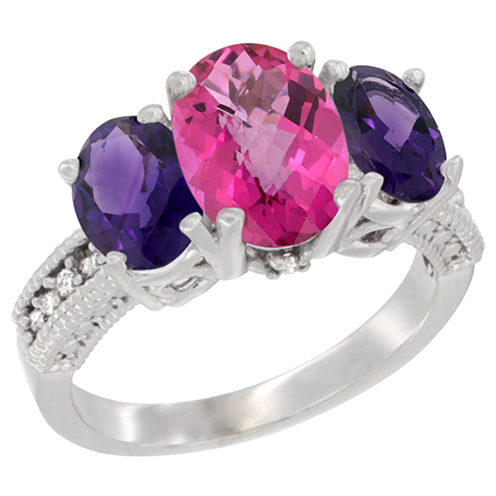 10K White Gold Natural Pink Topaz Ring Ladies 3-Stone Oval 8x6mm with Amethyst Sides Diamond Accent, sizes 5 - 10