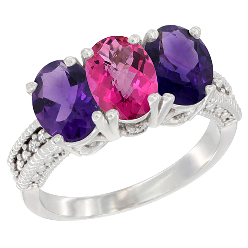 14K White Gold Natural Pink Topaz & Amethyst Ring 3-Stone 7x5 mm Oval Diamond Accent, sizes 5 - 10
