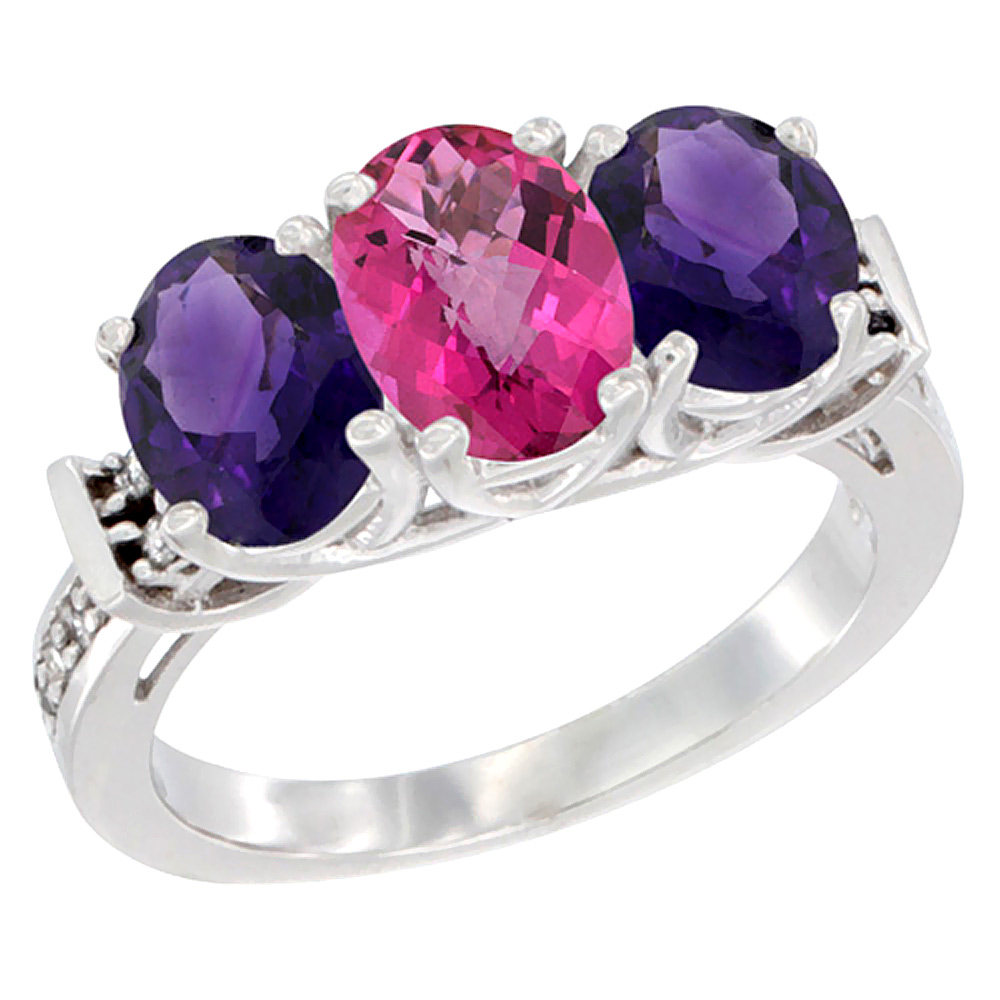 14K White Gold Natural Pink Topaz & Amethyst Sides Ring 3-Stone Oval Diamond Accent, sizes 5 - 10