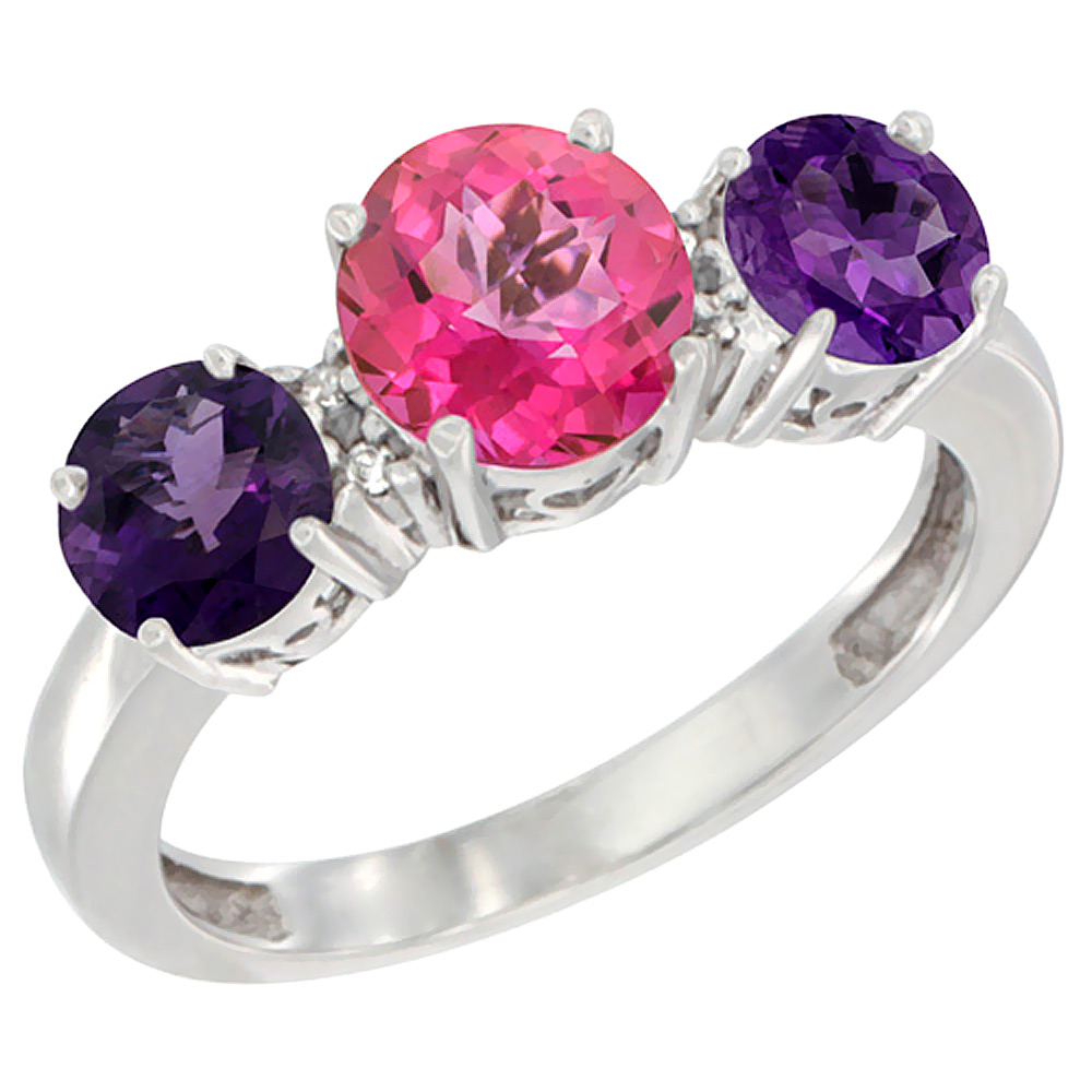 10K White Gold Round 3-Stone Natural Pink Topaz Ring & Amethyst Sides Diamond Accent, sizes 5 - 10