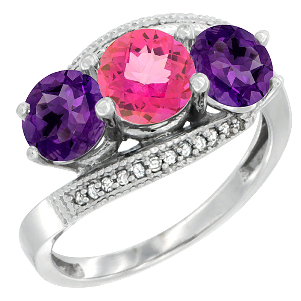 14K White Gold Natural Pink Topaz & Amethyst Sides 3 stone Ring Round 6mm Diamond Accent, sizes 5 - 10