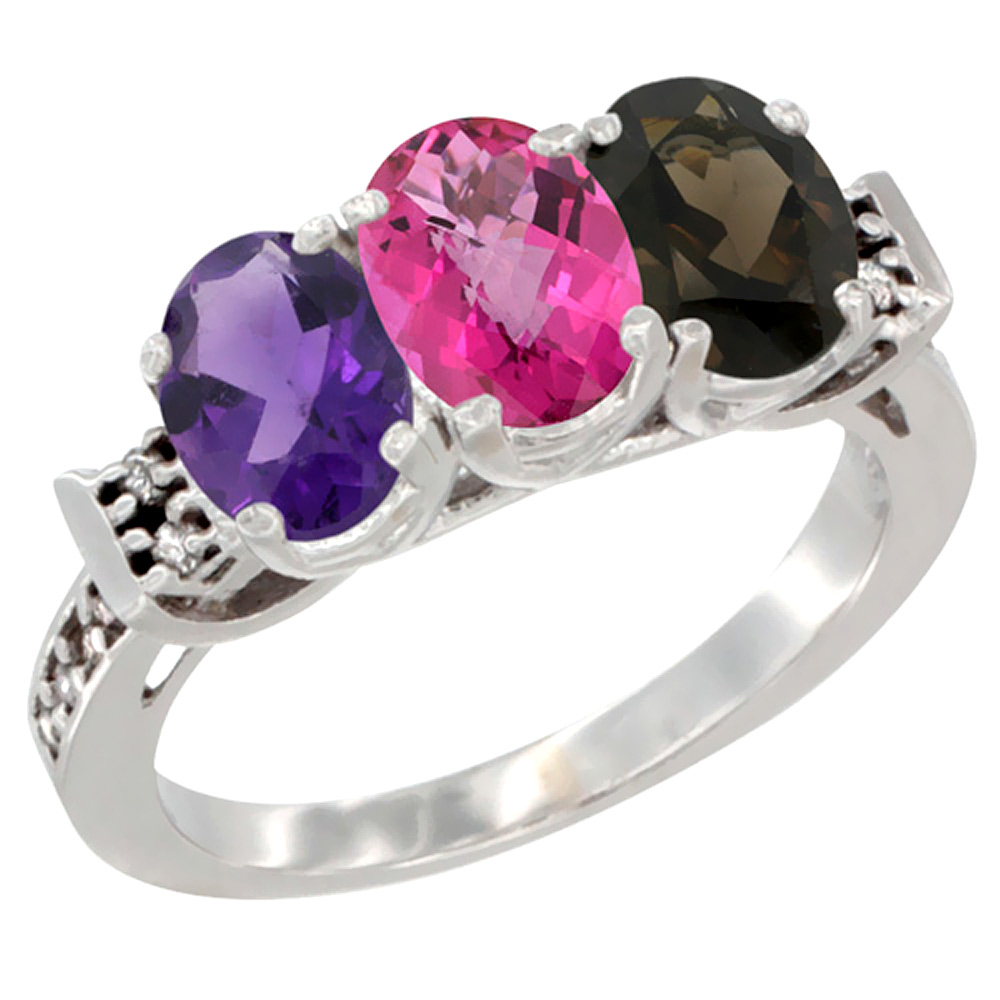 14K White Gold Natural Amethyst, Pink Topaz & Smoky Topaz Ring 3-Stone 7x5 mm Oval Diamond Accent, sizes 5 - 10