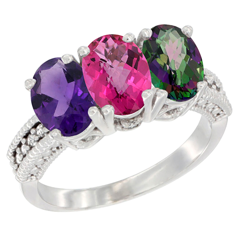 10K White Gold Natural Amethyst, Pink Topaz & Mystic Topaz Ring 3-Stone Oval 7x5 mm Diamond Accent, sizes 5 - 10