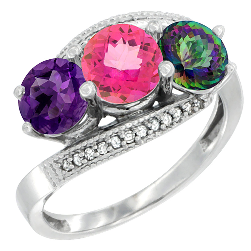 14K White Gold Natural Amethyst, Pink & Mystic Topaz 3 stone Ring Round 6mm Diamond Accent, sizes 5 - 10
