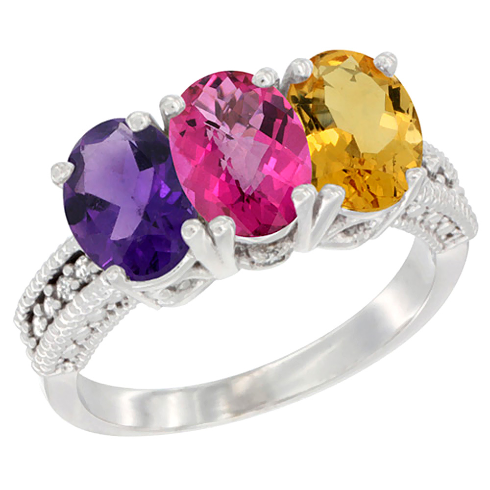 14K White Gold Natural Amethyst, Pink Topaz & Citrine Ring 3-Stone 7x5 mm Oval Diamond Accent, sizes 5 - 10
