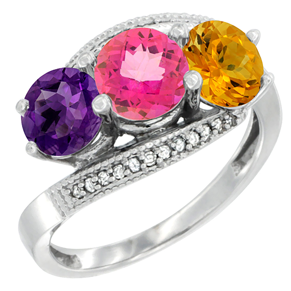 14K White Gold Natural Amethyst, Pink Topaz & Citrine 3 stone Ring Round 6mm Diamond Accent, sizes 5 - 10