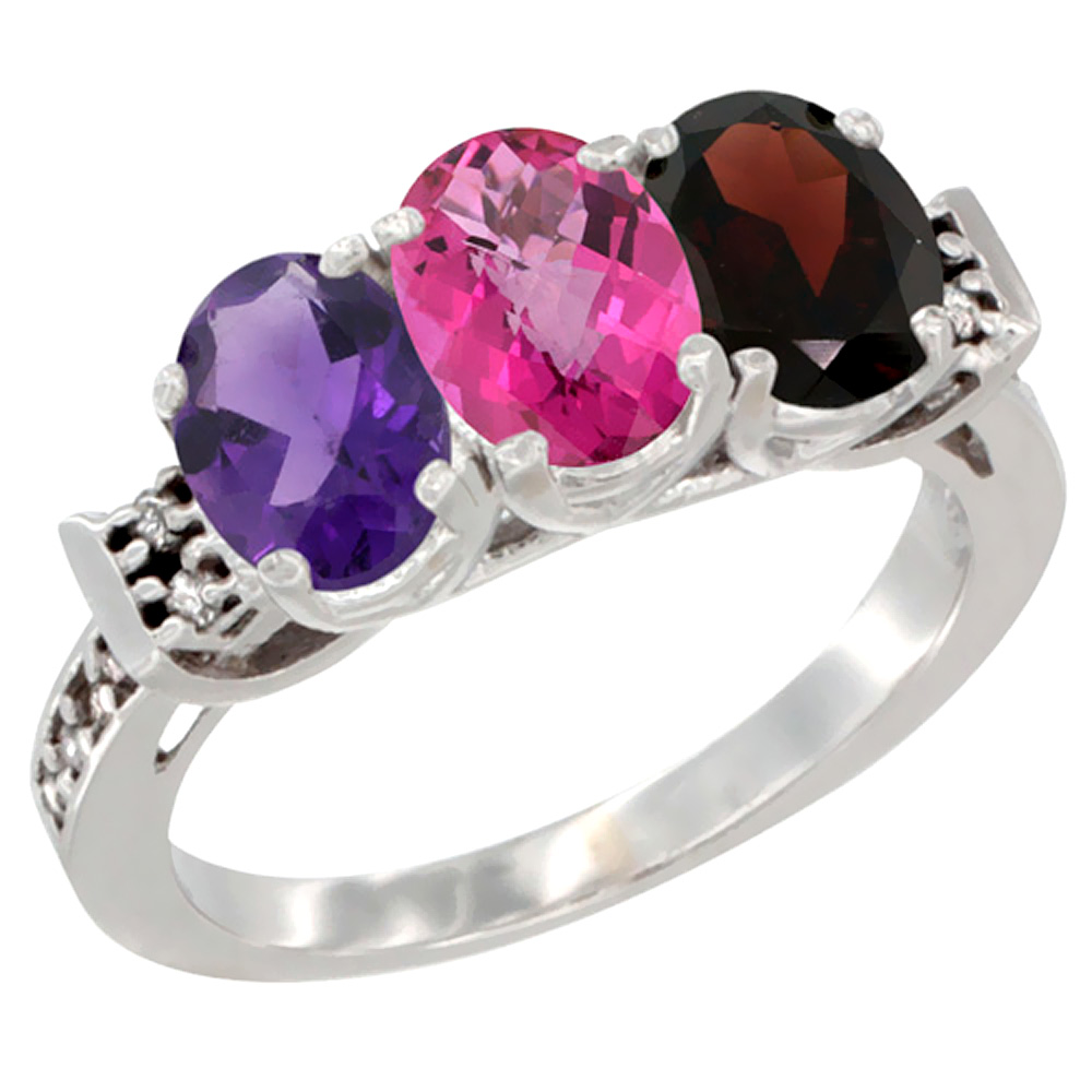 10K White Gold Natural Amethyst, Pink Topaz & Garnet Ring 3-Stone Oval 7x5 mm Diamond Accent, sizes 5 - 10