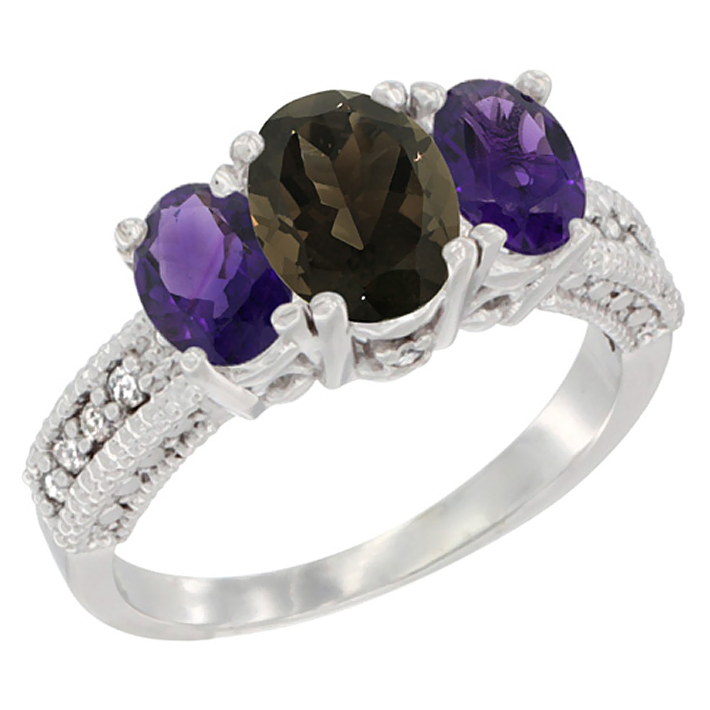 10K White Gold Diamond Natural Smoky Topaz Ring Oval 3-stone with Amethyst, sizes 5 - 10