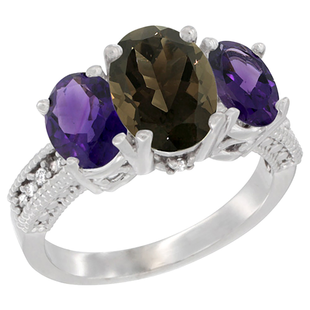 10K White Gold Natural Smoky Topaz Ring Ladies 3-Stone Oval 8x6mm with Amethyst Sides Diamond Accent, sizes 5 - 10