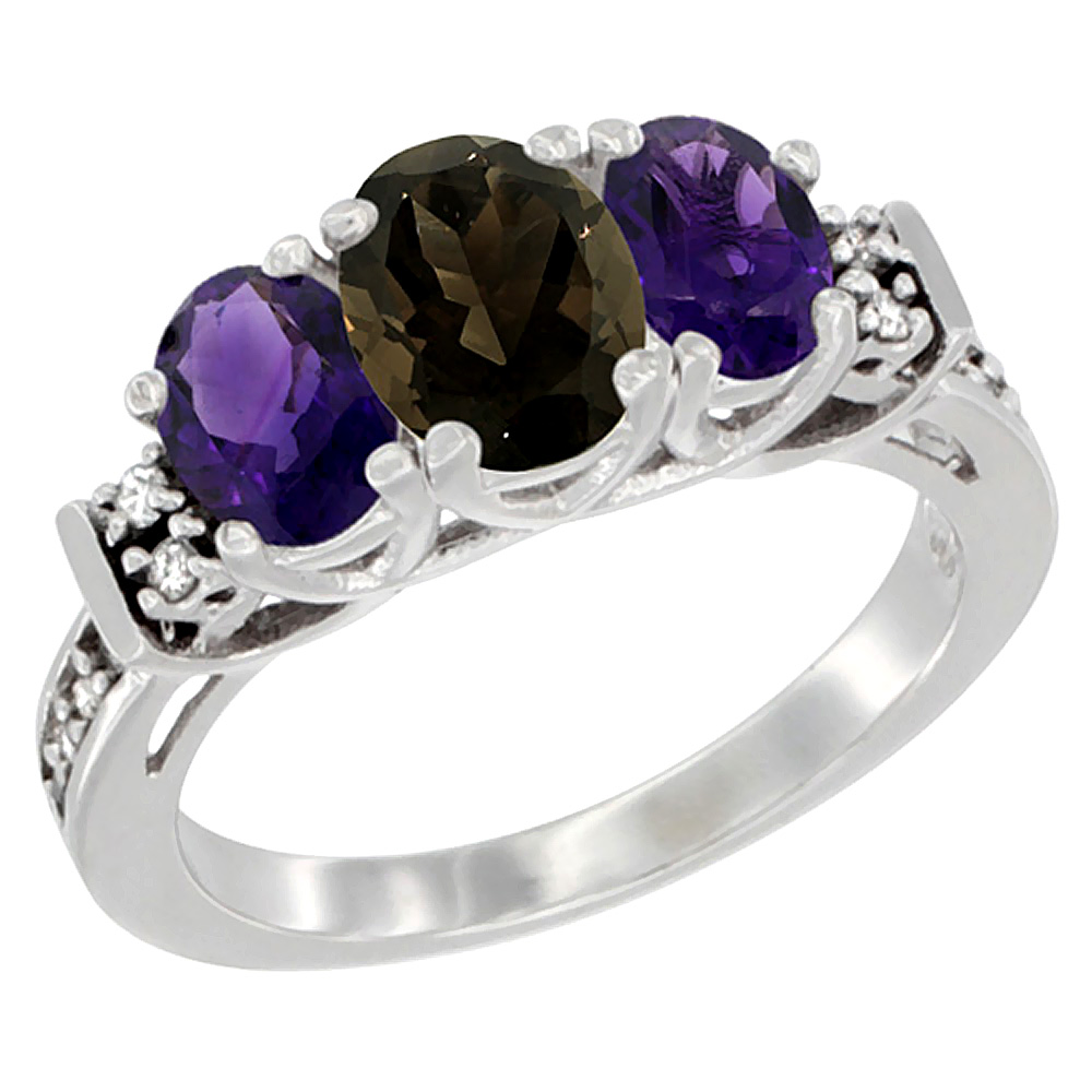 14K White Gold Natural Smoky Topaz & Amethyst Ring 3-Stone Oval Diamond Accent, sizes 5-10