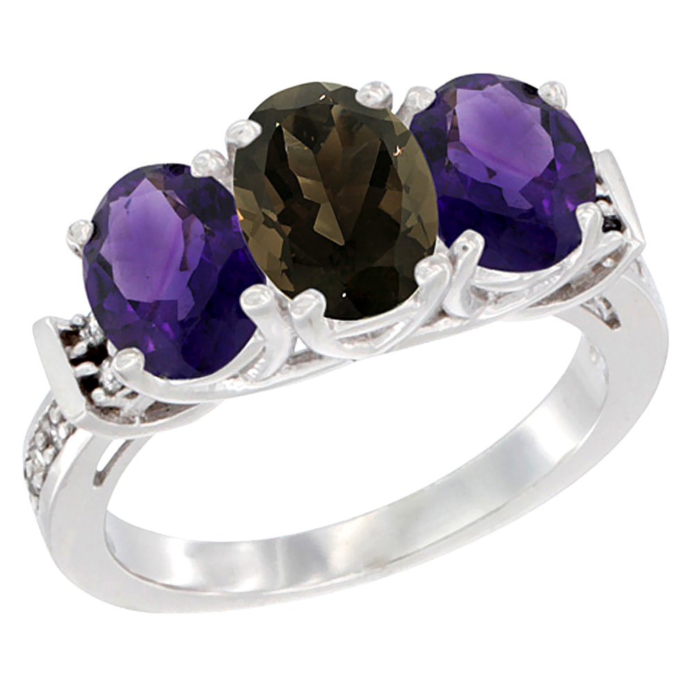 14K White Gold Natural Smoky Topaz & Amethyst Sides Ring 3-Stone Oval Diamond Accent, sizes 5 - 10