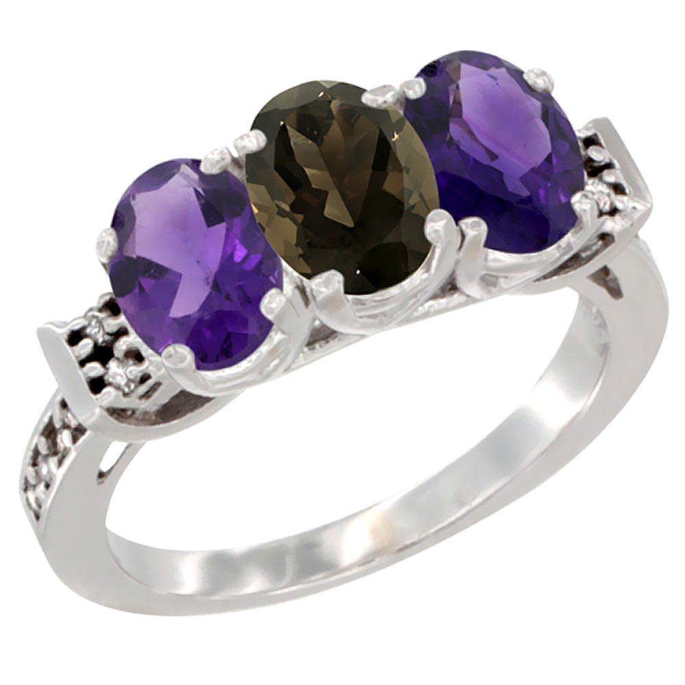 10K White Gold Natural Smoky Topaz & Amethyst Sides Ring 3-Stone Oval 7x5 mm Diamond Accent, sizes 5 - 10