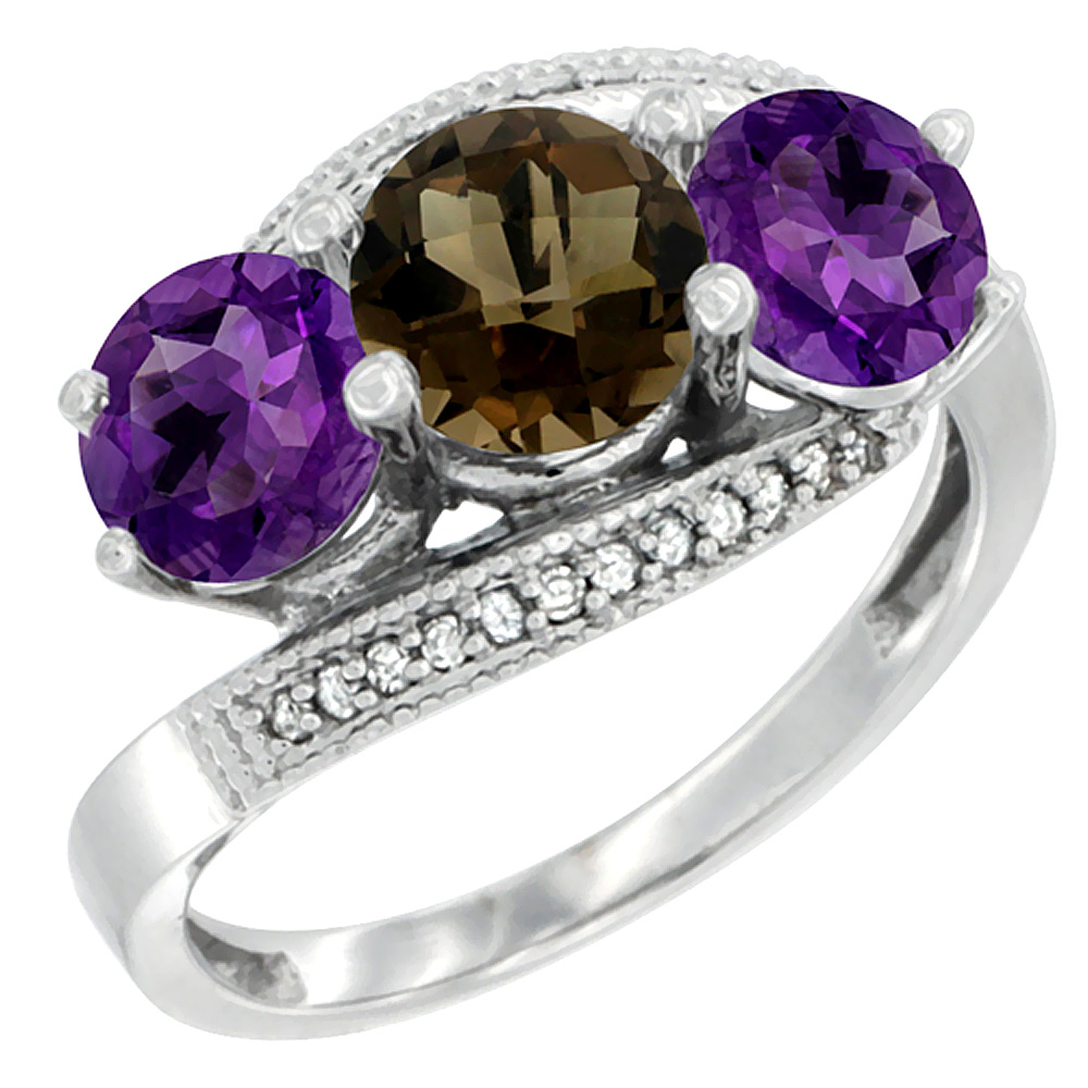14K White Gold Natural Smoky Topaz & Amethyst Sides 3 stone Ring Round 6mm Diamond Accent, sizes 5 - 10