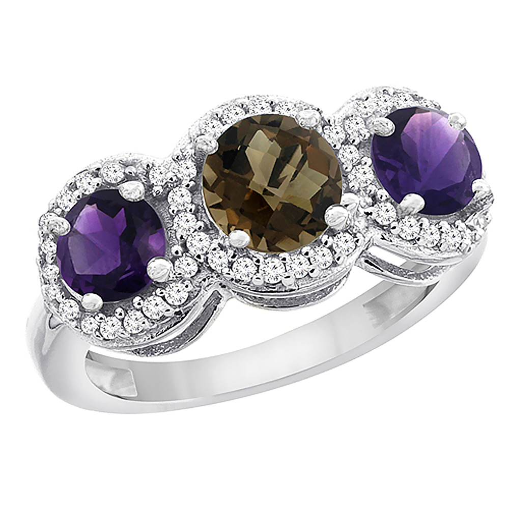 14K White Gold Natural Smoky Topaz & Amethyst Sides Round 3-stone Ring Diamond Accents, sizes 5 - 10