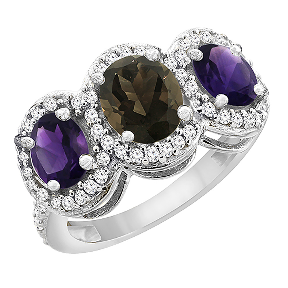 14K White Gold Natural Smoky Topaz & Amethyst 3-Stone Ring Oval Diamond Accent, sizes 5 - 10