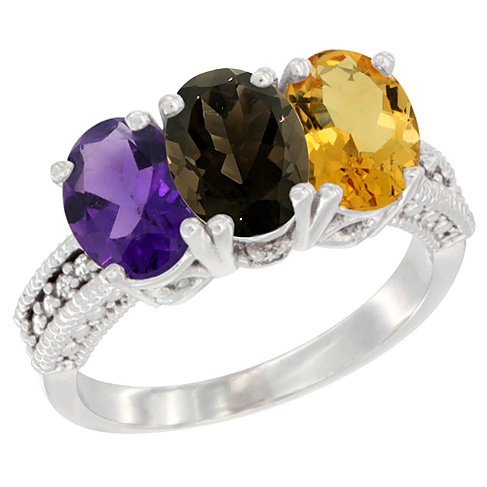 14K White Gold Natural Amethyst, Smoky Topaz & Citrine Ring 3-Stone 7x5 mm Oval Diamond Accent, sizes 5 - 10