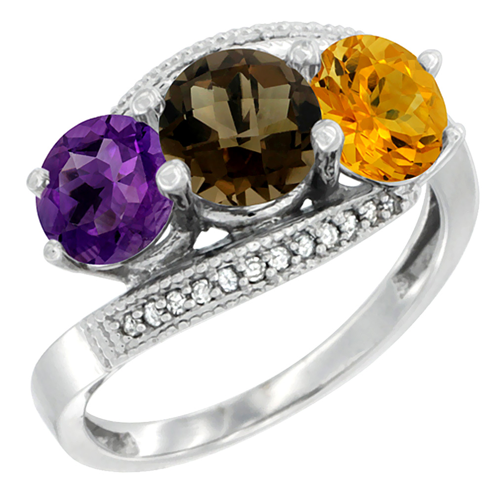 10K White Gold Natural Amethyst, Smoky Topaz & Citrine 3 stone Ring Round 6mm Diamond Accent, sizes 5 - 10