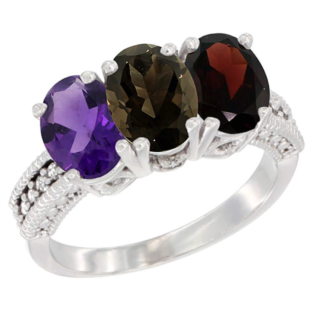 14K White Gold Natural Amethyst, Smoky Topaz & Garnet Ring 3-Stone 7x5 mm Oval Diamond Accent, sizes 5 - 10