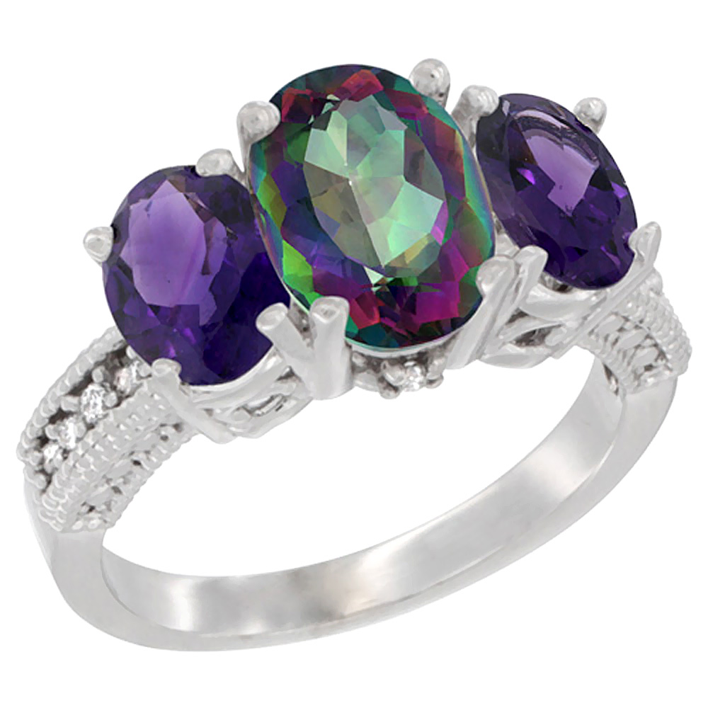 14K White Gold Natural Mystic Topaz Ring Ladies 3-Stone 8x6 Oval with Amethyst Sides Diamond Accent, sizes 5 - 10