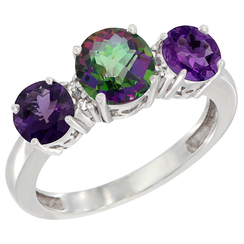 14K White Gold Round 3-Stone Natural Mystic Topaz Ring & Amethyst Sides Diamond Accent, sizes 5 - 10