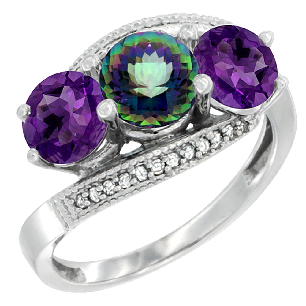 14K White Gold Natural Mystic Topaz & Amethyst Sides 3 stone Ring Round 6mm Diamond Accent, sizes 5 - 10