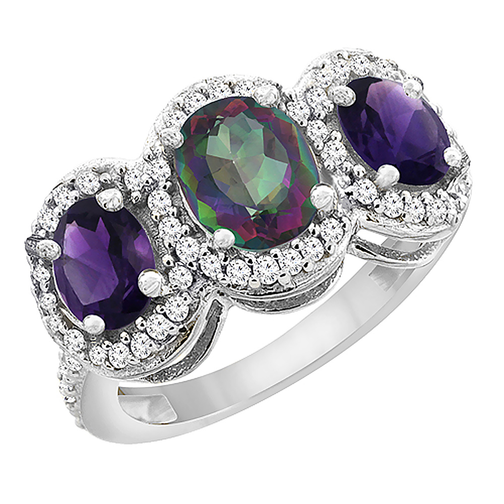 14K White Gold Natural Mystic Topaz & Amethyst 3-Stone Ring Oval Diamond Accent, sizes 5 - 10