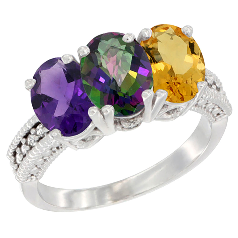 14K White Gold Natural Amethyst, Mystic Topaz & Citrine Ring 3-Stone 7x5 mm Oval Diamond Accent, sizes 5 - 10