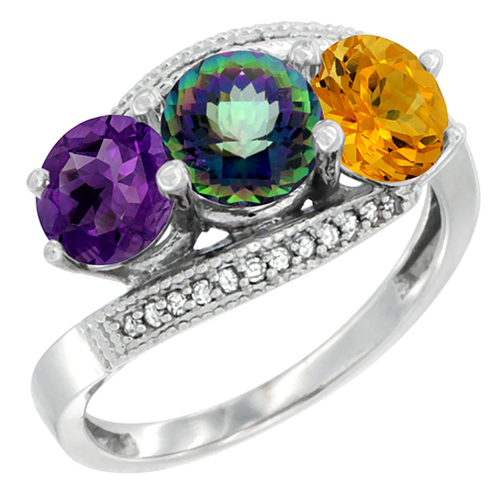 14K White Gold Natural Amethyst, Mystic Topaz & Citrine 3 stone Ring Round 6mm Diamond Accent, sizes 5 - 10