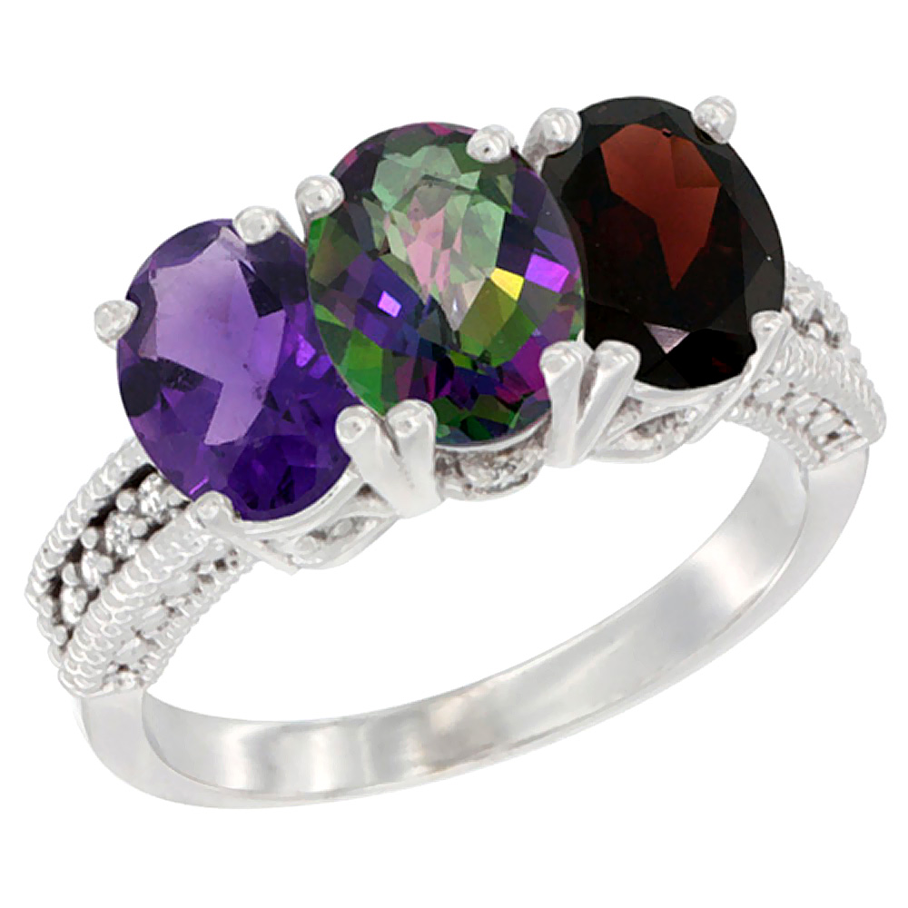 14K White Gold Natural Amethyst, Mystic Topaz & Garnet Ring 3-Stone 7x5 mm Oval Diamond Accent, sizes 5 - 10