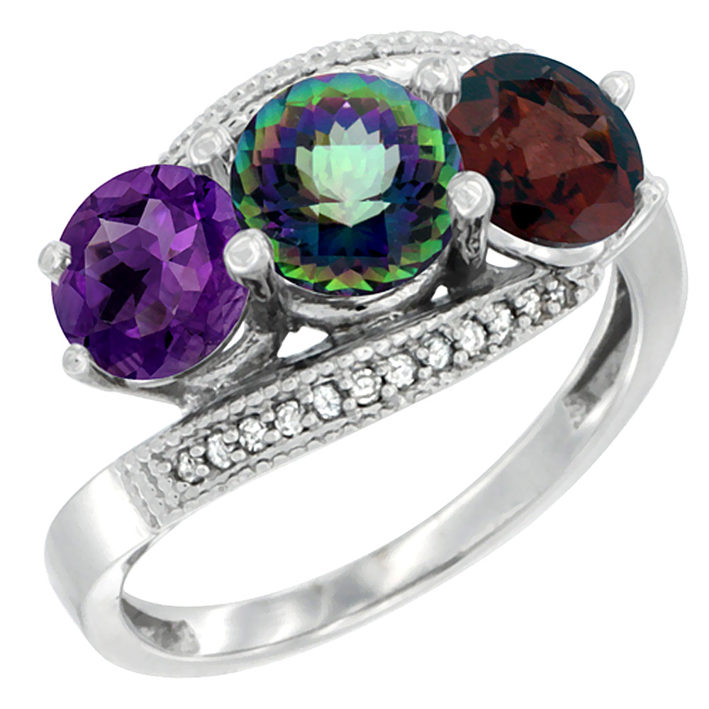 14K White Gold Natural Amethyst, Mystic Topaz & Garnet 3 stone Ring Round 6mm Diamond Accent, sizes 5 - 10