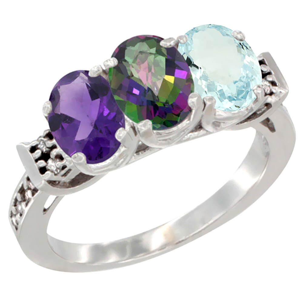 14K White Gold Natural Amethyst, Mystic Topaz & Aquamarine Ring 3-Stone 7x5 mm Oval Diamond Accent, sizes 5 - 10