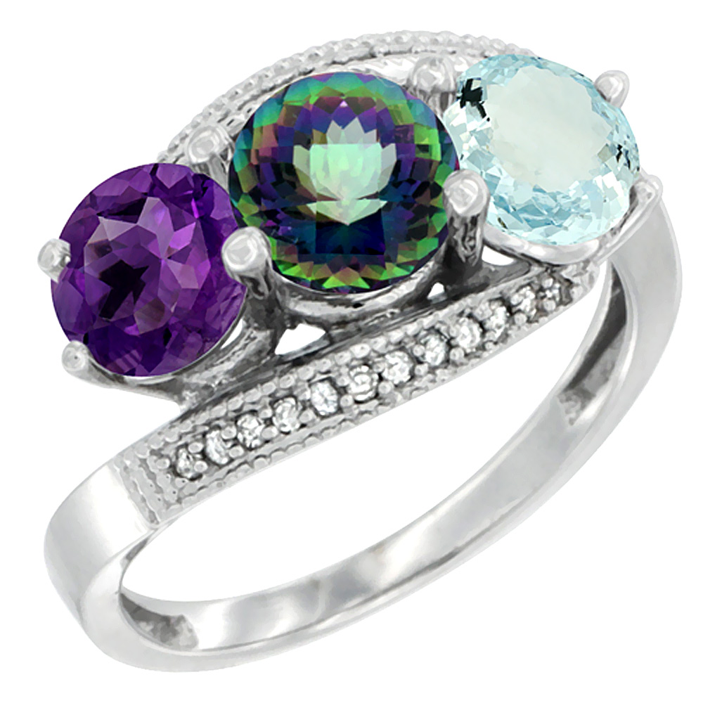 14K White Gold Natural Amethyst, Mystic Topaz & Aquamarine 3 stone Ring Round 6mm Diamond Accent, sizes 5 - 10