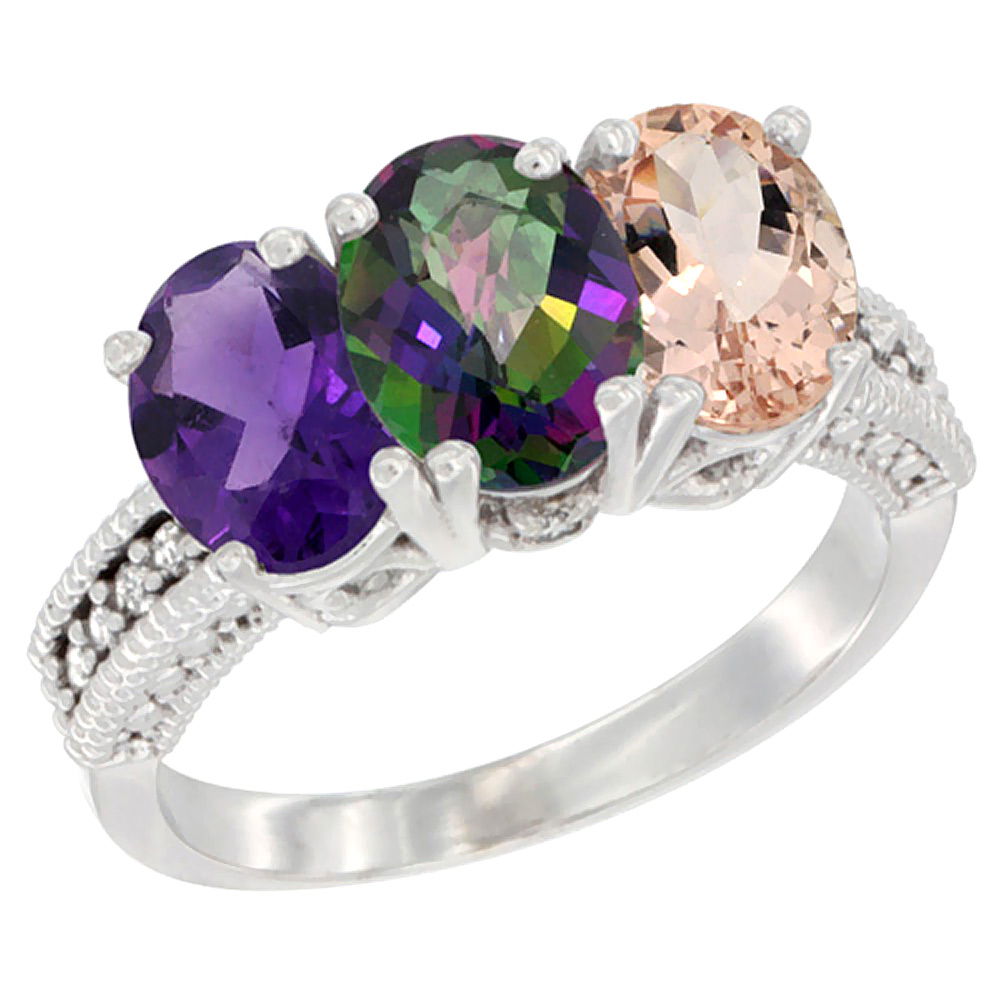 14K White Gold Natural Amethyst, Mystic Topaz & Morganite Ring 3-Stone 7x5 mm Oval Diamond Accent, sizes 5 - 10