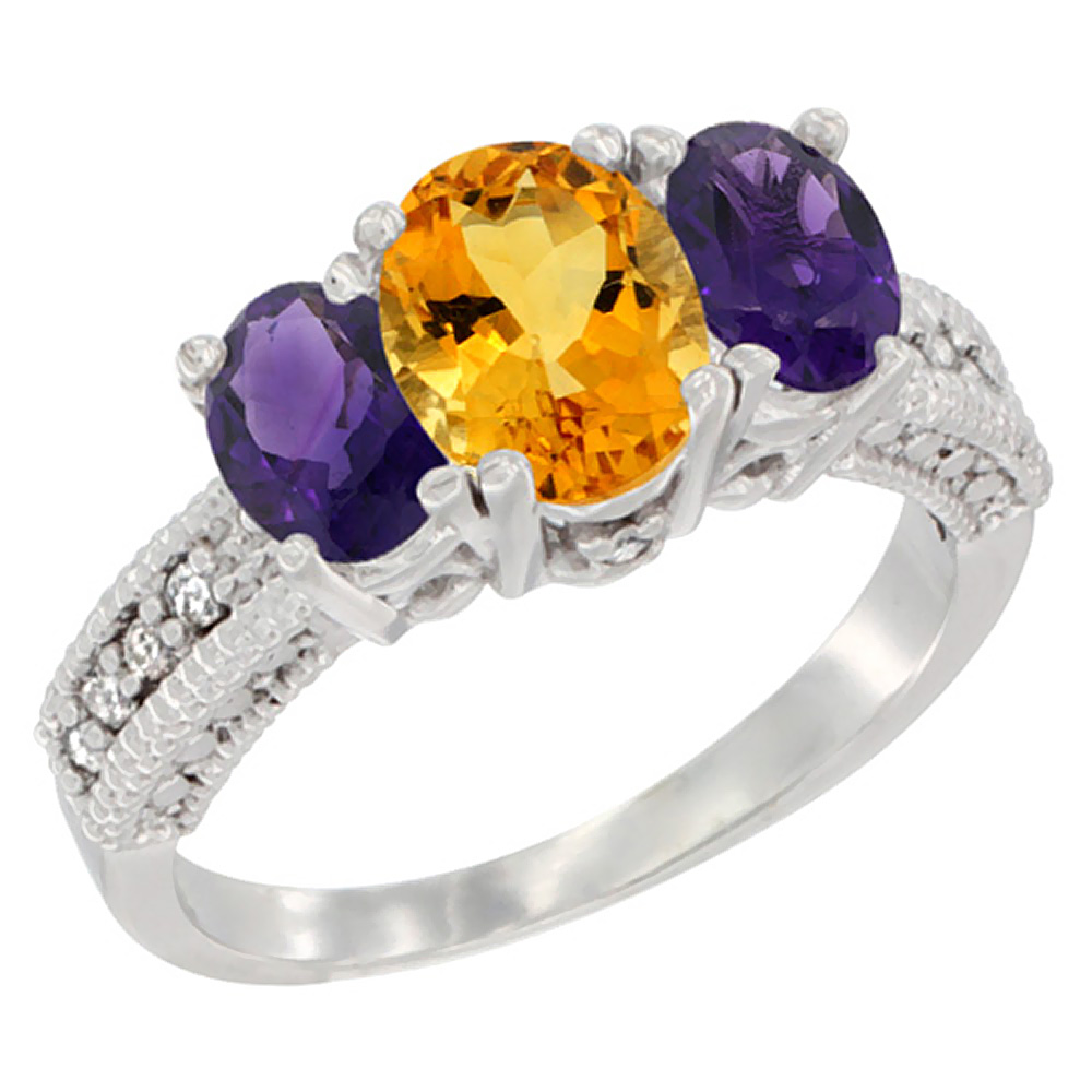 14K White Gold Diamond Natural Citrine Ring Oval 3-stone with Amethyst, sizes 5 - 10