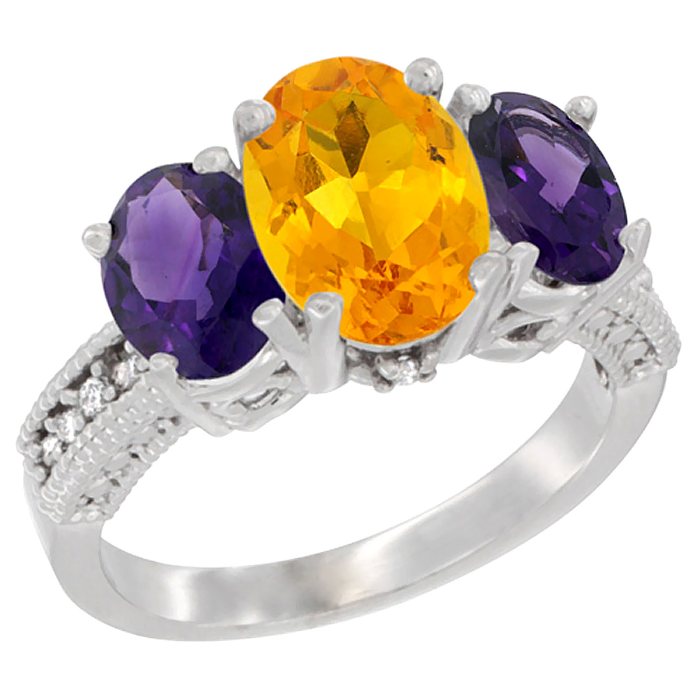 10K White Gold Natural Citrine Ring Ladies 3-Stone Oval 8x6mm with Amethyst Sides Diamond Accent, sizes 5 - 10