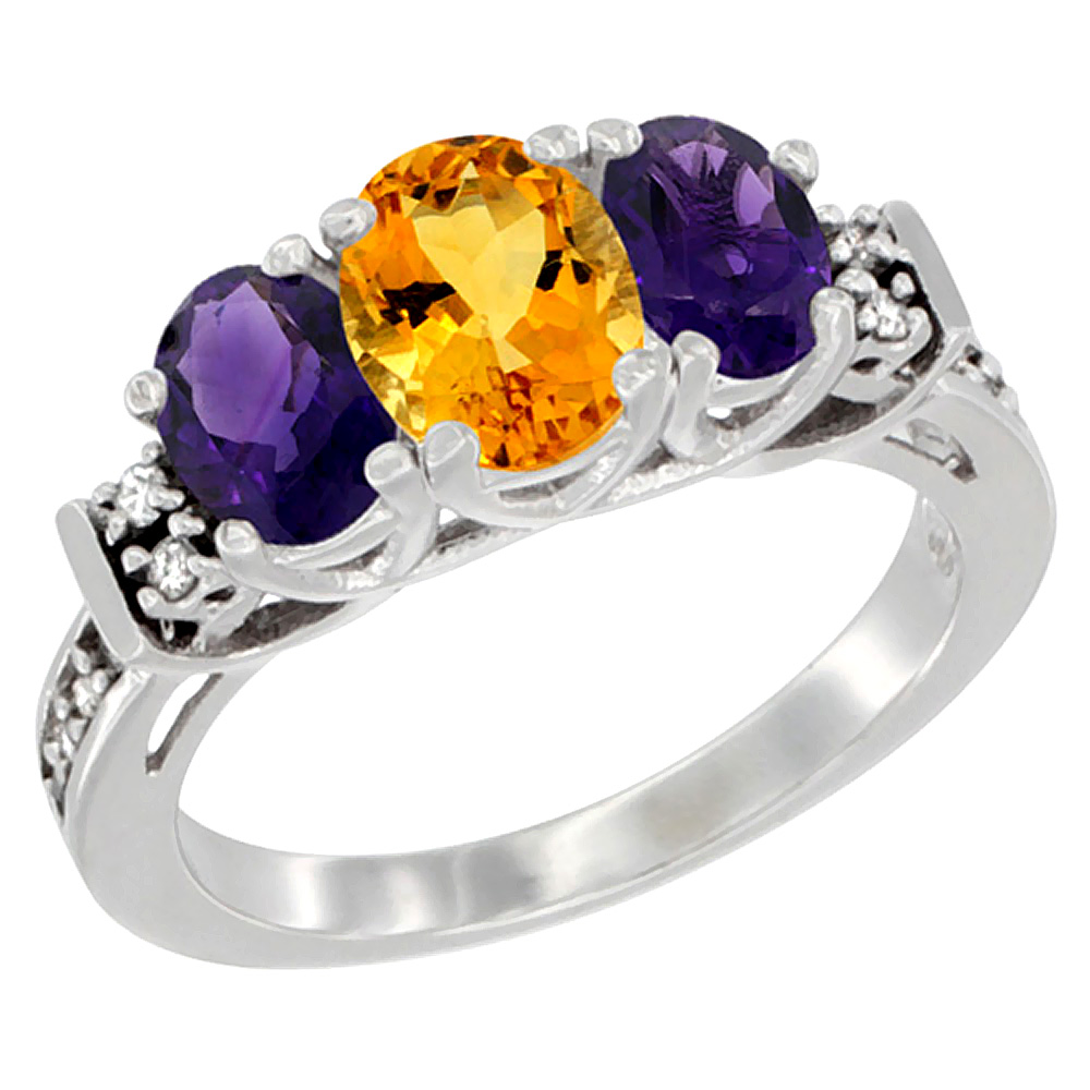 14K White Gold Natural Citrine & Amethyst Ring 3-Stone Oval Diamond Accent, sizes 5-10