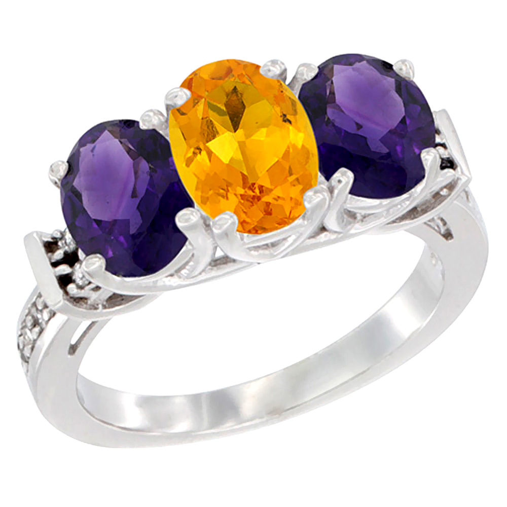 10K White Gold Natural Citrine & Amethyst Sides Ring 3-Stone Oval Diamond Accent, sizes 5 - 10