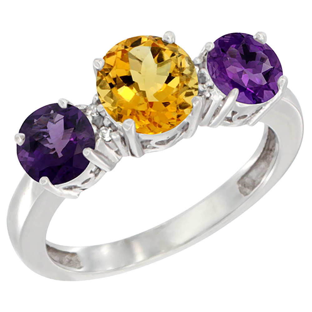 14K White Gold Round 3-Stone Natural Citrine Ring & Amethyst Sides Diamond Accent, sizes 5 - 10