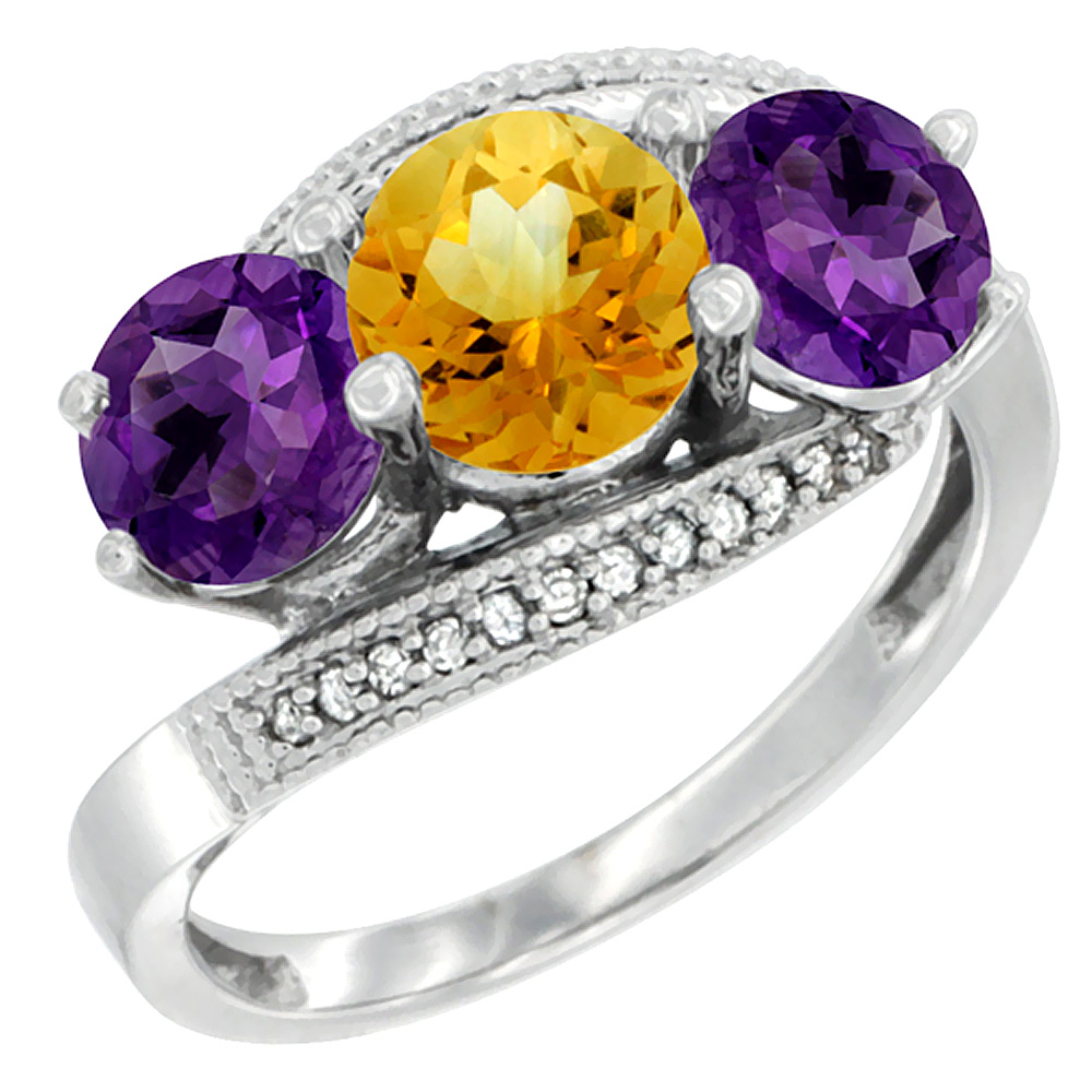 10K White Gold Natural Citrine & Amethyst Sides 3 stone Ring Round 6mm Diamond Accent, sizes 5 - 10